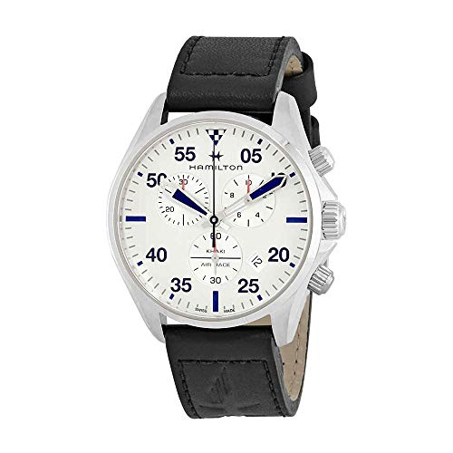 Hamilton H76712751 Khaki Pilot - Reloj de Pulsera para Hombre, Esfera Plateada, Piel Negra