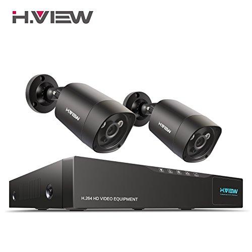 4.0MP Überwachungskamera System H.View 2x4.0MP Außen Überwachungskamera 4CH 5 in 1 AHD CCTV DVR/Recorder ohne Festplatte Haus P2P CCTV Indoor/Outdoor Metallschale Wasserdicht IR Nachtsicht 35M