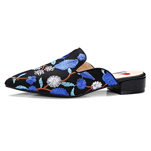 Damen Spitze Zehen Blumen Sticken Sandalen Blockabsatz Slingback Blau