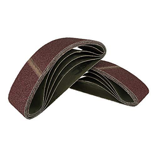 25 Stück Gewebe-Schleifbänder gemischt 75 x 533, für Bandschleifer - 5 Körnungen jeweils 5 x K40/60/80/120/180 / Schleifpapier / Schleif-Mix / Schleifbänder