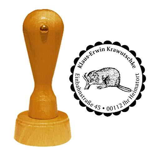 Stempel Adressstempel « BIBER 02 » Durchmesser ca. Ø 40 mm - mit persönlicher Adresse, Motiv und Zierrand - Tier Tiere Nagetier Nager
