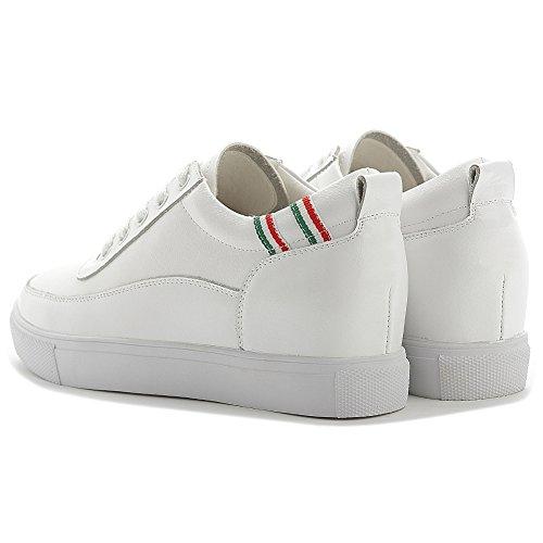 Shenn Damen Versteckt Keil Ferse Schnüren Komfort Leder Sneaker Schuhe Weiß