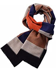 MZMZ ULTRA apretado el cuello BMBAI cálido-hombres con estilo y elegante pañuelo de seda cepillado cálido invierno una tartan bufandas, marrón