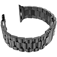 For Apple Watch 42mm - Replacement Stainless Steel Watch Band with Axel Adapters - Charcoal Black