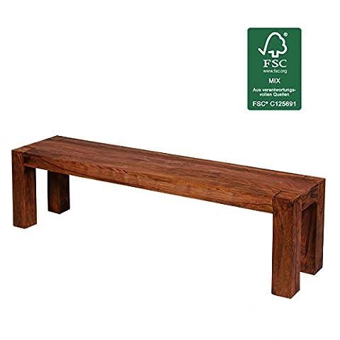 FineBuy seating bench Solid wood Sheesham 160 x 45 x