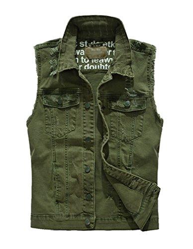 Giacca Denim Senza Maniche Uomo Giubbotto Casual Gilet Jeans Giacca Panciotto Jeans Esercito Verde 2XL