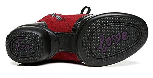 SHIXR Chaussures de danse pour femme Chaussures de sport en cuir Chaussures modernes Soft Bottom Fitness Jazz Chaussures rouge