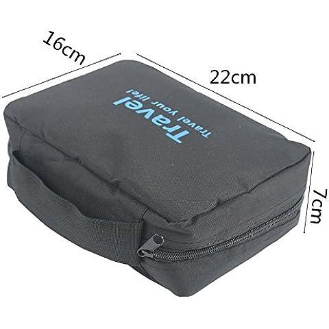 2-Tech–Bolsa de viaje de aseo para colgar en color negro con 5grandes bolsillos