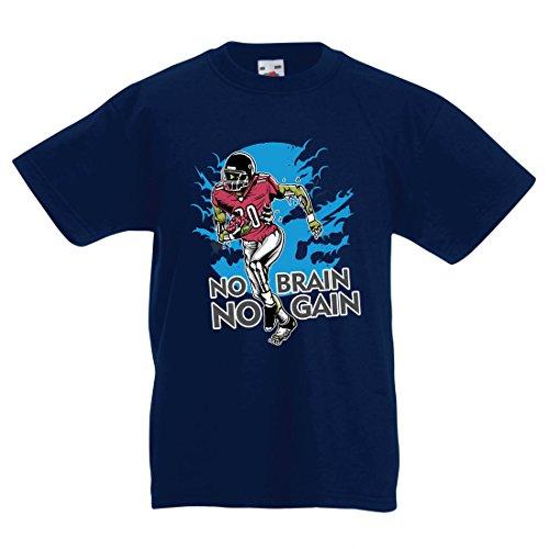 Kinder T-Shirt Kein Gehirn, kein Gewinn! Zombie Football Player - inspirierende Fußball Zitate (7-8 Years Dunkelblau Mehrfarben) - Inspirierende Fußball