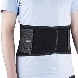 FREETOO Rückenbandage mit Stützstreben Verstellbare Zuggurte und atmungsaktiver Nylonstoff ideal für Arbeitsschutz entlastet die Rückenmuskulatur zur Haltungskorrektur (L/XL Taillenumfang(84-100cm))