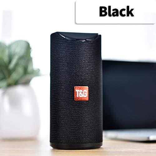 Etbotu,Bluetooth Lautsprecher,Tragbarer Außenlautsprecher Drahtlose Mini Säule 3D 10 Watt Stereo Musik Surround Unterstützung FM TF Karte Bass Box,schwarz