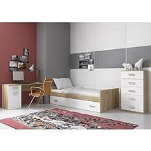 Dormitorio juvenil con terminación en cambria combinado con los frente en blanco
