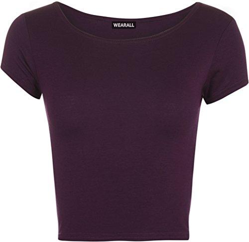WearAll - Neu Damen Kurzarm Crop Top Rundhalsausschnitt Elastisch Ladies Büstenhalter Unterhemd - Violett - 36 / 38