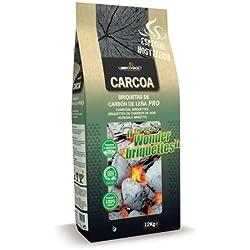 Carcoa Pro Wonder - Briquetas de carbón vegetal, 12 kg, color negro