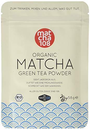 Matcha Pulver Tee 108 - Bio Zeremonie Qualität (für milden Teegenuss) - Ideal auch für Smoothies und Lattes - Zertifiziertes Grüntee Pulver [58g Ceremonial Grade Green Tea]