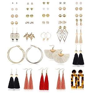 Milacolato 35 Paar Verschiedene Mehrere Ohrringe Set Damen Mädchen Einfache Nette Stud Hoops Baumeln Quaste Acryl Hit Muschel Ohrringe Pack