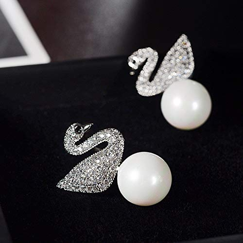 COISINI Temperament S 925 Silber Nadel Frauen Ohrringe Micro-Intarsien Zirkon Swan Ohrringe Perle...