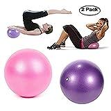 Topbine Pelota de pilates (2 piezas) para yoga, barra, entrenamiento y terapia física, mejora el equilibrio, fuerza de núcleo, dolor de espalda y postura, viene con paja inflable