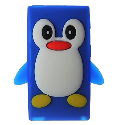 Tsmine Apple Ipod Nano 7th Generation Penguin Cartoon Case - Cute 3D Penguin Soft Silicone Back Washable Cover Case Protective Skin for iPod Nano 7th Gen, Blue Ipod Nano Cover