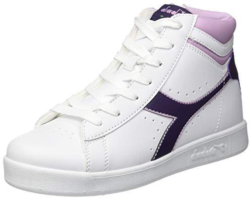 Diadora game p high gs, scarpe sportive unisex – bambini, multicolore (wht/blackberry cordial/winsome c7630), 38 eu