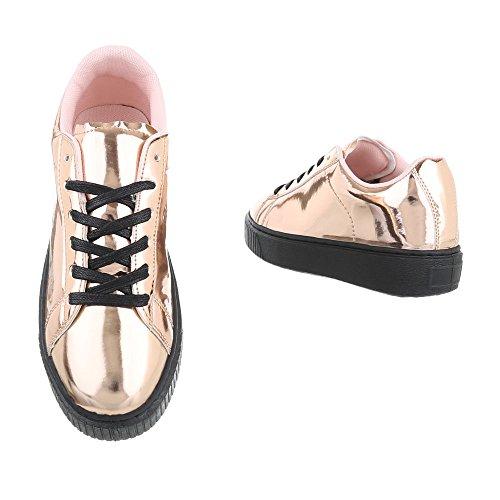 Sneaker Ital-design Sneaker Basse Sneakers Da Donna Stringate Basse Scarpe Casual Rosa Oro B3147b-sp
