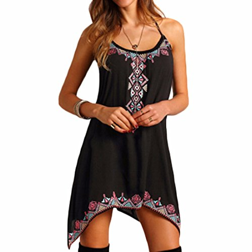 QIYUN.Z Femmes Vintages Sans Manches Backless Boheme Plage Mince Partie Ete Mini Robe Noir