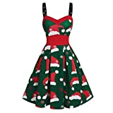 Auiyut Weihnachtskleid Damen Schlingenkleid Elegant Rockabilly Kleid Festlich Abendkleid Off Shoulder A-Linie Partykleid Weihnachten Cocktailkleid Retro Stil Santa Drucken Rot Schwarz