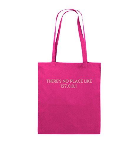 Comedy Bags - THERE'S NO PLACE LIKE 127.0.0.1 - Jutebeutel - lange Henkel - 38x42cm - Farbe: Schwarz / Silber Pink / Rosa