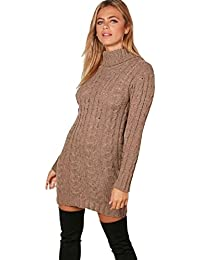 29627729afe Red Olives New Womens High Polo Neck Chunky Cable Knitted Jumper Mini Tunic  Dress Top 8
