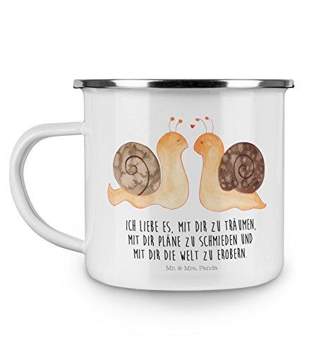 Mr. & Mrs. Panda Kaffeebecher, Tasse, Emaille Tasse Schnecken Liebe mit Spruch - Farbe Weiß