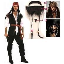 7-piezas Jack Sparrow de estilo de la boda del partido del traje de Halloween de la barba despu?s de la fiesta Piratas del tama?o de producci?n de entretenimiento con traje de lujo: X-Large (jap?n importaci?n)