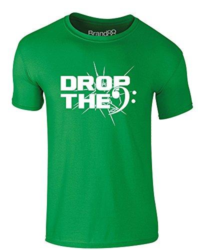 Brand88 - Drop The Bass (Clef), Erwachsene Gedrucktes T-Shirt Grün/Weiß