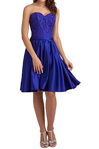 Milano Bride Damen Reizend Herzform Abenkleider Festkleider Abschlusskleider Kleider Spitzekleider Kurz Knielang Royalblau