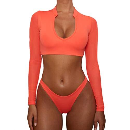 Hibote Bikin Langarm Brasilianischer Bikini High Cut Orange Badeanzug Tanga Badebekleidung Frauen Badende Micro Bikini Mesh Schwimmen Orange S