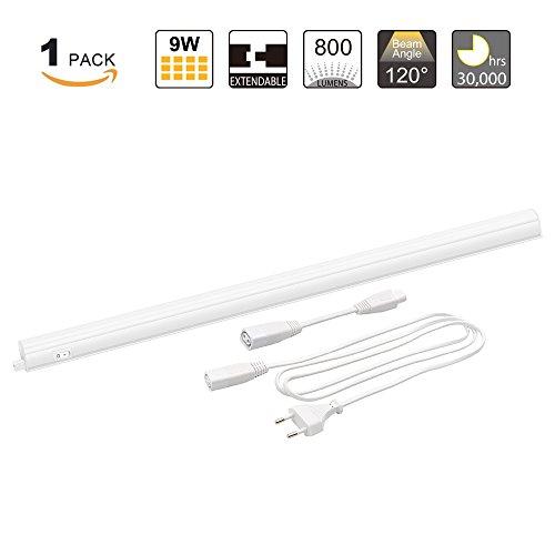 Anschließbar T5 9W LED Unterbau Küche Lichtleiste Unterbauleuchte Wandlampe mit Schalter und Stecker Neutralweiß 4000K Lampenlänge 573MM, 1er Lampe von Enuotek