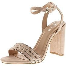 Mujer Tacón Alto Correa de Tobillo Diamante Detallado Ante Sandalia Boda Fiesta Zapatos