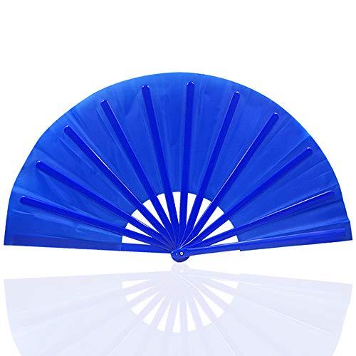 Coucoland Handfächer Groß Faltbar Retro Stil Tuch Fächer mit Plastikrahmen für DIY Party Dekoration Damen Fasching Accessoires Kostüm Zubehör (Blau)