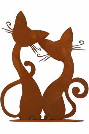 floristikvergleich.de Rost Tier Katze Paar Pärchen Deko Dekoration Edelrost Garten Metall Eisen