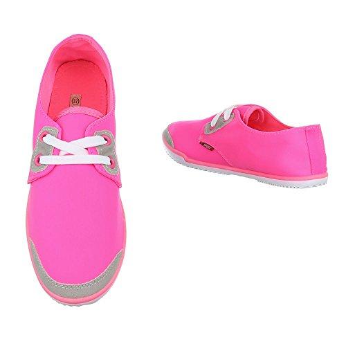 Low-Top Sneaker Damenschuhe Low-Top Schnürer Schnürsenkel Ital-Design Freizeitschuhe Pink