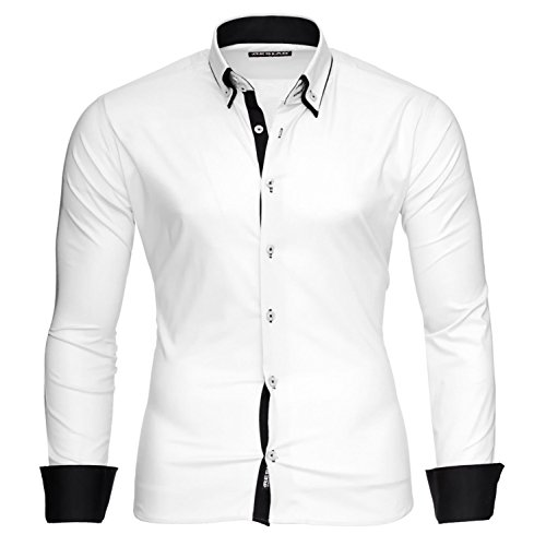 Reslad Männer Hemd bügelleicht Slim Fit Freizeit-hemden Business Herren Kontrast Langarmhemd RS-7050 Weiß Schwarz Gr M