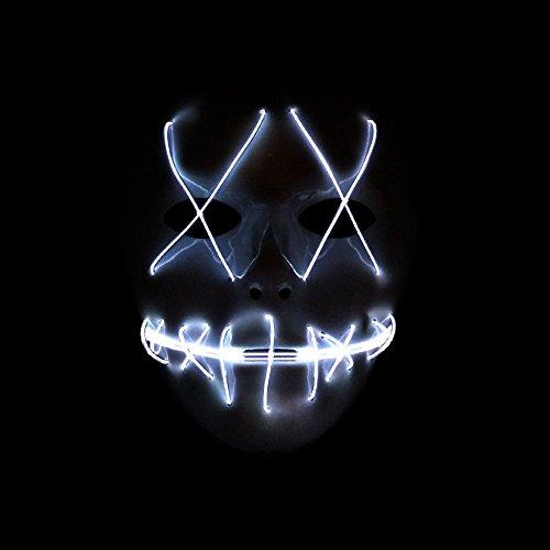 SUNREEK Halloween Scary Maske, Halloween Cosplay LED Kostüm Maske EL Draht Licht Maske für Halloween, Festival Parteien (Weiß)