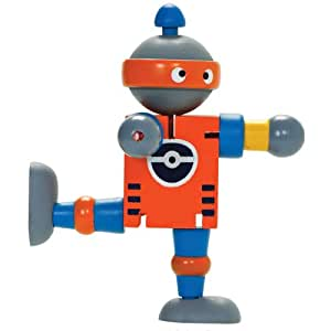 Wooden flexi Robot - Painted wooden robot toy with flexible, poseable joints