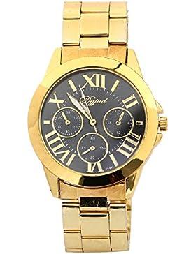 Armbanduhr - SODIAL(R) Mode Damen Herren Roman Runduhr Gold Legierung Armband Analog Quarz Kleid Armbanduhr Schwarz