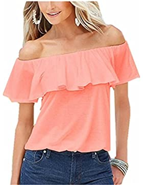 SHUNLIU Camisetas Mujer Tallas Grandes Mujer Camiseta de Manga Corta Blusa Ocasional T-shirt Color Sólido Blusas...
