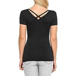 Zeagoo Damen Sommer Kurzarm T-Shirt V Ausschnitt mit Schnürung Hinten Oberteil Tops Bluse Shirt Schwarz XL