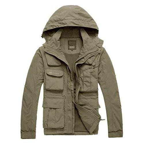 Multi Pockets Angeln Weste,Outdoor Wasserdicht Jacke Abnehmbare Ärmel und Hut Netz Atmung