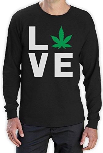 I Love Weed - Entspanntes Geschenk für Hanfmeister Langarm T-Shirt Schwarz