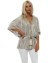 f2e860e25f8cf My Story Pale Gold Foil Pleated Top