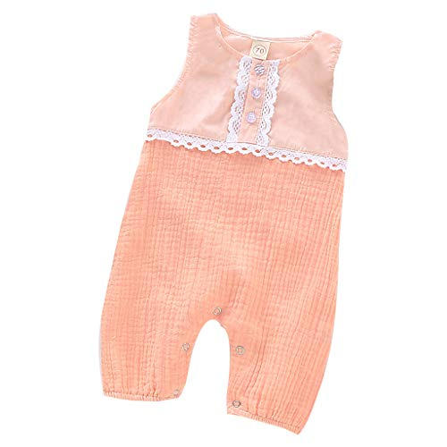 LEXUPE Neugeborenes Baby Mädchen Jungen Leinen Feste Spitze Strampler Overall Kleidung Outfits(Rosa,80)
