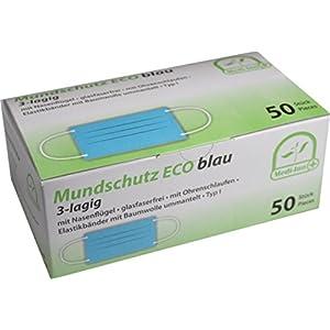 50 Stück Mundschutz Eco 3-lagig mit Nasenbügel mit Ohrenschlaufen TYP I von Medi-Inn